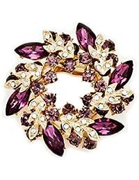 Gudeke Joyería de lujo de la manera cristalina de Bling del Rhinestone Bauhinia flor Broches y alfileres clips de la bufanda