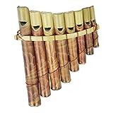 Flauto di pan in bambù con imboccatura-Ideale per Principianti - Strumento musicale a fiato, realizzato a mano - Strumenti musicali, giocattoli per bambini Klein marrone