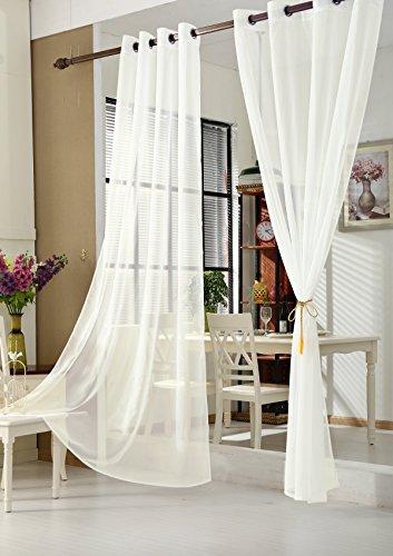 WOLTU VH5513ws, Gardinen Vorhang transparent mit Ösen Ösenschal Ösenvorhang Fensterschal Dekoschal Voile 140x225 cm Weiß , (1 Stück)