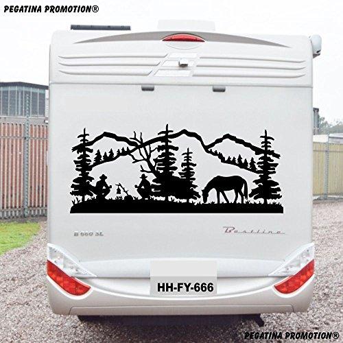 """Preisvergleich Produktbild Landschaft Natur Cowboy Aufkleber """"Größe 130x60 cm"""" für Wohnmobil Wohnwagen Womo WOWA Caravan Lustige Sprüche lustiger Spruch von Pegatina Promotion ®"""