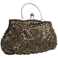 BCM - Borsetta clutch da sera chiusura rigida decorata con paillettes interno in satin