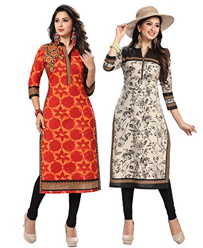 Ishin Combo of 2 Cambric Cotton Multicolor Printed Party Wear Wedding Wear...