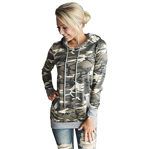 VECDY Damen Pullover,Räumungsverkauf- Herbst Neue Damen Camouflage Printing Pocket Hoodie Sweatshirt mit Kapuze Pullover Tops Bluse Lässiger Sportpullover Herbst langes T-Shirt Warme Jacke(Tarnung,42)