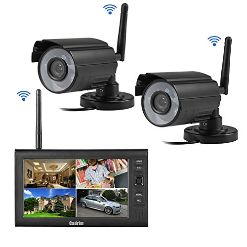 Cadrim Videoüberwachung 7 Zoll LCD 4CH DVR Recorder 2.4GHz WIFI Baby Monitor + 2X WIFI Überwachungskamera IR Kameras Wasserdicht CCTV Sicherheitskamera