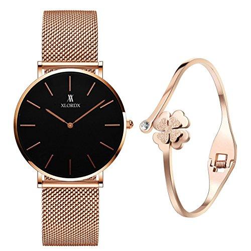 XLORDX Classic Damen-Armbanduhr Analog Quarz Rosegold Edelstahl Armband, Schwarz Zifferblatt mit Elegant Rosegold Armband