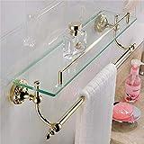 CASEWIND Einzeln Glasrack Glasablage mit Handtuchstange, Badezimmer Organiser für Handtücher Dusche Küche aus Messing und Glas Poliert Gold Finished, Glasregal Wandhalterung Bohren