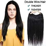 """22""""/55CM Extension Fil Cheveux [Doubles Fils & Cheveux Epais] Fil Elastique Pour Extension Cheveux Pose & Dépose Tres Facile [01#Noir Foncé]"""