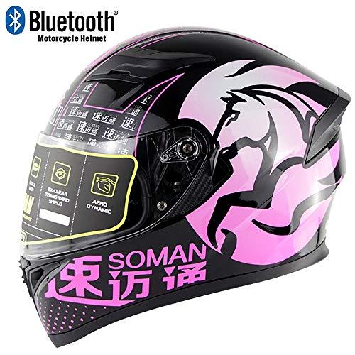 YEXIXI Rosa Pegasus Motorrad Bluetooth Helm,Adult Double Lens Anti-Fog Und Glare Integralhelm,DOT/ECE-Zertifizierter Helm Four Seasons Universal,L:59~60cm
