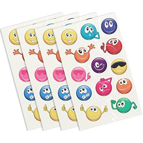 COM-FOUR® 4x Tattoo-Bögen mit Abziehtattoos für Kinder und Jugendliche mit lustigen Smileys (04 Stück - Smiley)