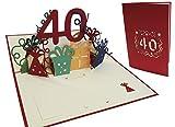 LIN - Pop Up 3D Biglietto d'auguri per compleanno, Happy Birthday 40 anni, (#18)