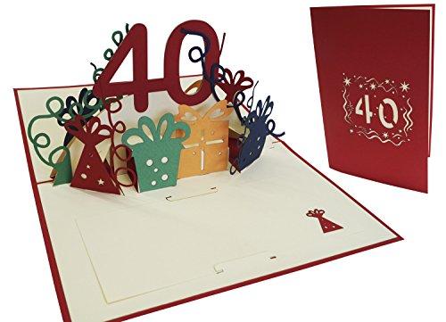 Carte de vœux Lin Pop Up 3D Carte d'anniversaire Anniversaire 40 ans Femmes 40 Party, rouge (N ° 18)