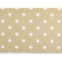 Algodón de Impresión, estrellas, Beige de color blanco, ...