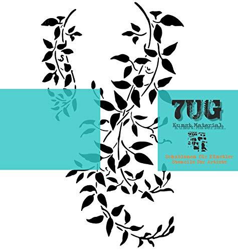 7UG Schablone, Motiv Semiramis, Din A4, Zweig, Blätter, AST, Texturen f. Mixed Media Techniken