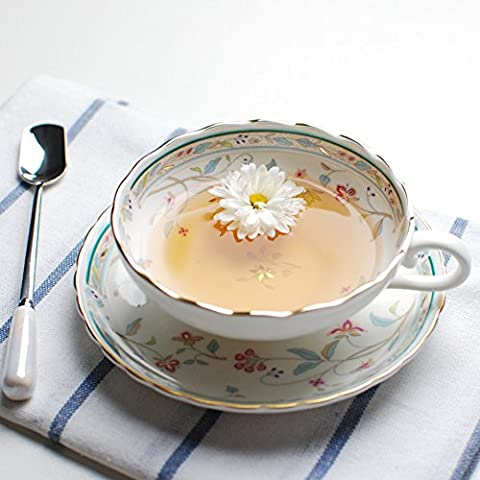 Copa inglesa bone China café/ simple té de la tarde/ floral taza y platillo conjunto