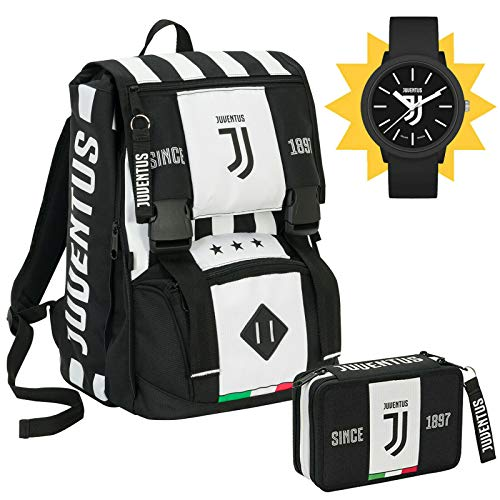 SEVEN SPA F.C. Juventus - Schoolpack Juventus League - Zaino Sdoppiabile + Astuccio 3 Zip Completo Di Cancelleria con Orologio Ufficiale Lowell In Omaggio