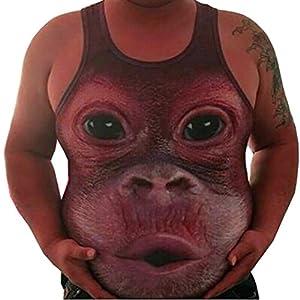 Manadlian Herren Fun-Tops & Shirts, Bluse for Fat Boy Männer Plus Größe Elastisch Ärmellos Fettleibigkeit Oberteile Tank Tops Weste O-Neck Bluse