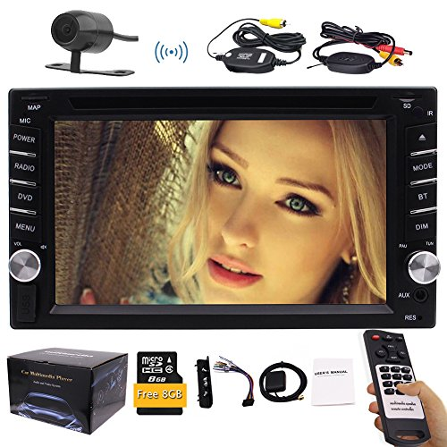 "Wireless-Backup-Kamera inklusive !!! Universal-6.2"" Doppel-DIN-Fahrzeug-CD-DVD-Spieler-Auto GPS-Navi im Schlag-Stereo-Radio Bluetooth USB mit bunter Backup Buttons + FREE 8G Karte Card + Fernbedienung"