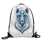 African Asian Totem Tattoo Design Patterned Portrait On Grunge Backdrop Drawstring Gym Sack Sport Bag for Men and Women