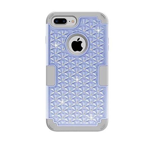 "iPhone 7 Plus hüll,Lantier elegante 3 in 1 Beschlagene Strass Kristallbling Dual Layer Hybrid [Anti Scratch] Stoß Rugged Schutzhülle für Apple iPhone 7 Plus 5,5"" Rose Gold+Grau Light Blue+Grey"