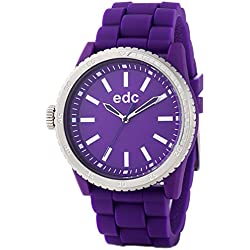 Edc Women's Quartz Watch with Purple Dial Analogue Display and Purple Rubber Silicone Starlet EE100922006