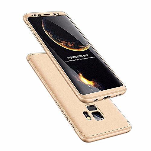 Galaxy s9 Plus Hülle 3 in 1 Handy Hülle Ultra Dünn Hartschale 360 Grad Full Body Schutz Stoßdämpfend Anti-Fingerabdruck Glatte Griff Hybrid Etui Bumper Case Cover (Galaxy S9, Gold) -