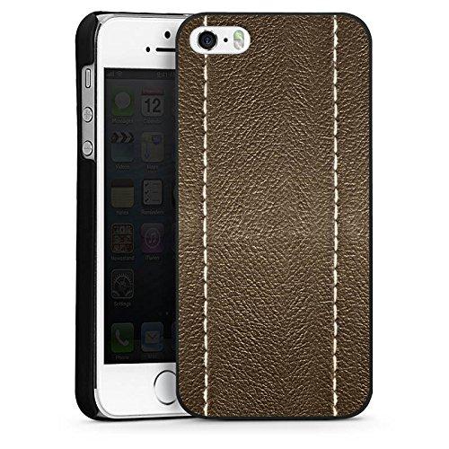 Apple iPhone 5s Housse étui coque protection Cuir marron Look Structure en cuir CasDur noir