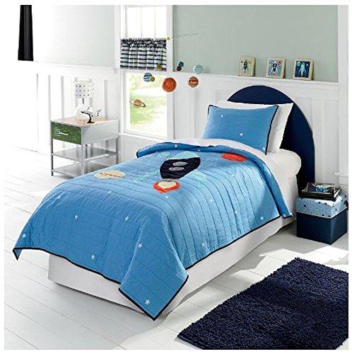 Home In Style Rocket to The Moon 100% Baumwolle Twin Platz Quilt & Kissenbezug Set (Twin Bettbezug Kinder)