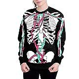 Lazzboy Halloween Damen Sweatshirt Pullover Skelett 3D Drucken Lose Bluse Langarm Tops (Schwarz,38)