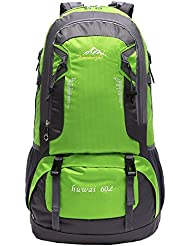 60L Senderismo Mochila, impermeable al aire libre Deporte Trekking Viajes Mochila Pack Mochila Escalada Mountaineering Mochila (verde)
