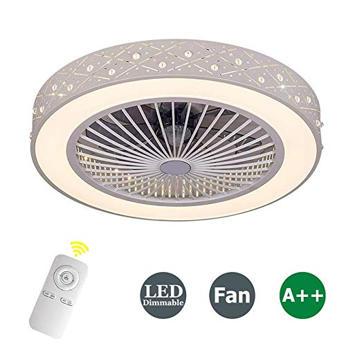 ZDXR Fan Ceiling Light Luz del Ventilador De Techo De Cristal Sala De Estar Control Remoto Invisible...