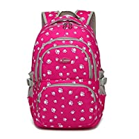 Bansusu Candy Color Students Satchel Shoulder School Bag Lovely Dog Paw Prints Large Capacity Backpack