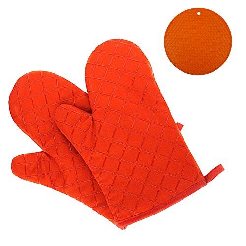 GoFriend - Ofen-Handschuhe, rutschfest, Küche, Backofen, Fäustlinge, hitzebeständige Koch-Handschuhe zum Grillen, Kochen, Backen, Grill-Topflappen, 1Paar mit Silikon, hitzebeständige Isolierung der Handfläche, Untersetzer - Silikon-grillen-handschuhe