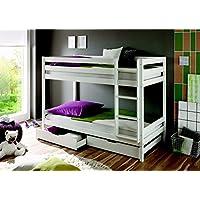 Etagenbett Kevin Kiefer massiv Farbe: Weiß 90x200cm mit Bettkasten und Rollrosten preisvergleich bei kinderzimmerdekopreise.eu