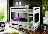 Etagenbett Kevin Kiefer massiv Farbe: Weiß 90x200cm mit Rollrosten