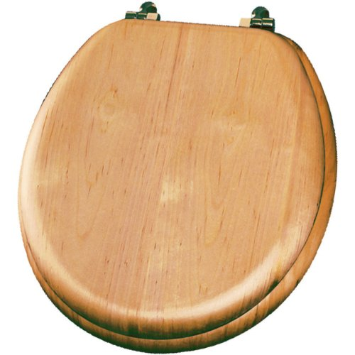 Bemis Wc-sitz Länglich (Mayfair 9601BR 418 Natural Reflections Wood Veneer Toilet Seat with Brass Hinges, Round, Maple by Mayfair)