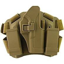 Airsoft Tactical Pierna Derecho Cuello Rápido Holster con bolsa de revista para Glock 17 19 22 23 31 32 (arena)