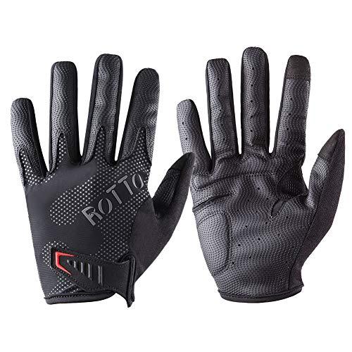 ROTTO Fahrradhandschuhe MTB Handschuhe Vollfinger für Motorrad Herren Damen mit Touchscreen-Funktion und SBR-Polsterung Schwarz-Grau (Schwarz-Grau, XXL)