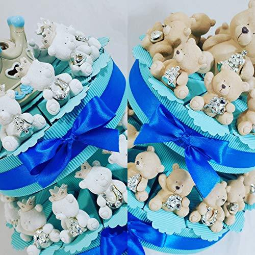 Bomboniere orsetti batesimo su torta portaconfetti confetti al cioccolato- torta 25 fette + 25 orsi + 1 cenrale + confetti cioccolato