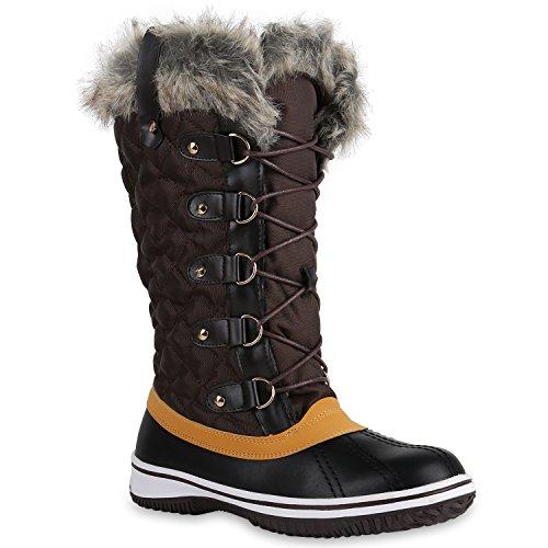 Warm Gefütterte Damen Stiefel Winterstiefel Snow Boots Schuhe Dunkelbraun Schwarz