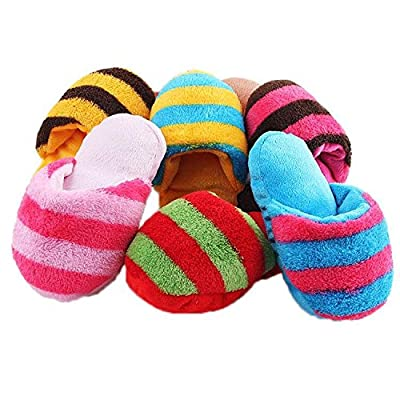 Pecute Cute Puppy Dog Toy Pet Puppy Play Squeaker Plush Slippers Bread Shape Gift Pack of 1