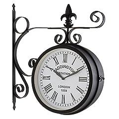 Idea Regalo - Blumfeldt Paddington orologio da parete in stile stazione londinese (orologio su due lati, struttura resistente in ferro, numeri romani, vintage, shabby chic, ampio quadrante, kit montaggio incluso) - nero