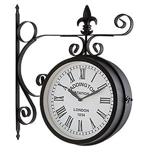 Blumfeldt Paddington - Orologio da parete retrò, double face, modello orologio da stazione