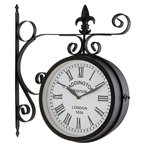Blumfeldt paddington orologio da parete stazione 41x45 x11cm vintage nero