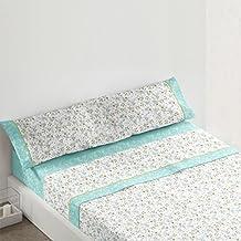 Burrito Blanco - Juego de sábanas 438 para cama 90x190/200 cm, color turquesa