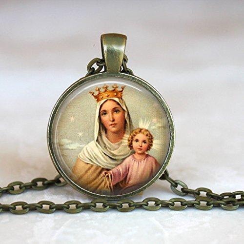Our Lady of Mount Carmel Anhänger, Jungfrau Maria Halskette, Unsere Lady und die braun Skapulier