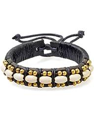 PAPAYANA Hippes Leder-Armband besetzt mit gelben Steinen in Perlen-Form