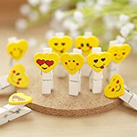 Generic 12PCS Mini Love Heart Emoji Wooden Peg Pin Yellow Clothespin Decor Craft Clips for Photo Paper clip With Hemp rope 3.5x0.7cm E3