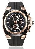 Tondo Orologio da Polso con Cassa in Acciaio INOX e Cinturino di Gomma Impermeabile Quarzo Orologio per Uomo - Oro rosa-nero