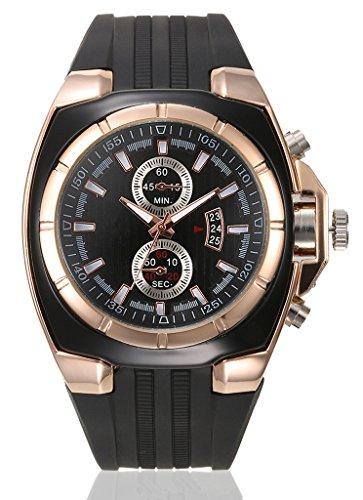 Runde Armbanduhr mit Edelstahl Gehäuse und Wasserdicht Gummiband Quarz Uhr für Männer - Rose gold-Schwarz