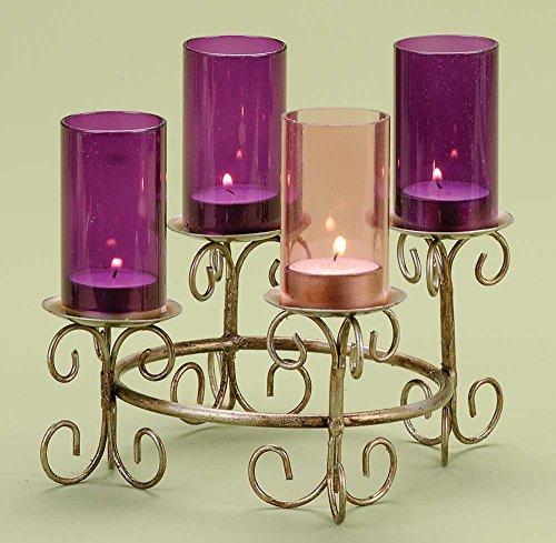 Gold eloxiert Advent Kranz mit Glas Schornsteine (Kerzen Für Glas-schornstein)